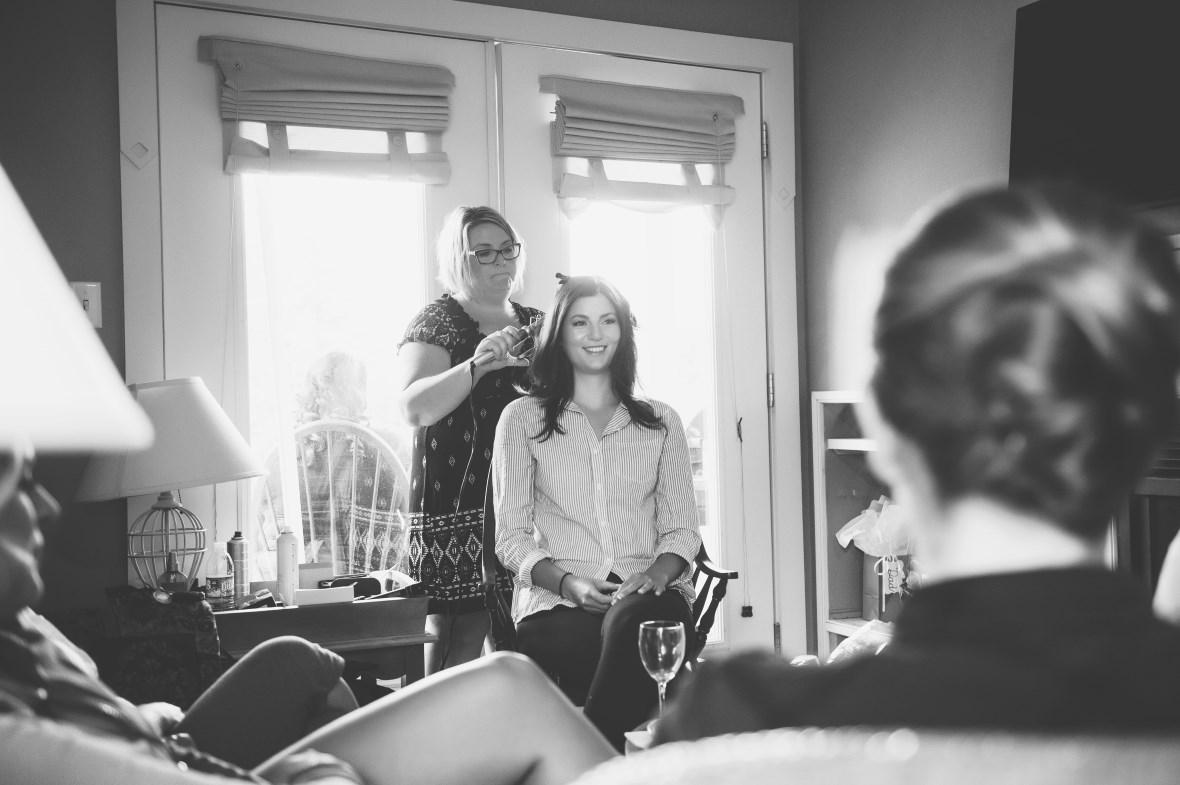 Krista MacLeod of Indulge Hair Studio hairstyling for wedding
