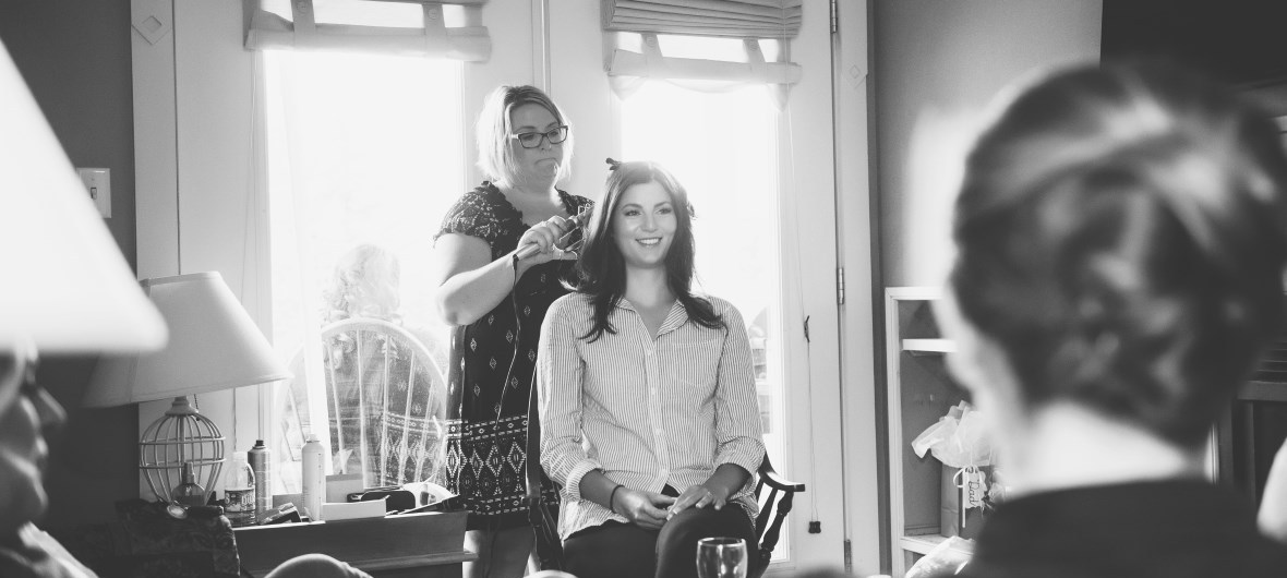 Krista MacLeod of Indulge Hair Studio hairstyling for wedding